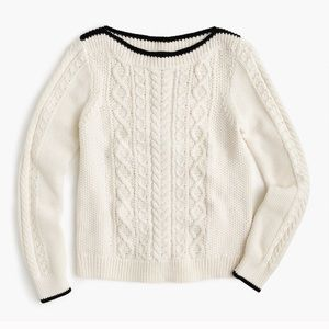J. Crew Tipped Cream Black Cable Knit Sweater!